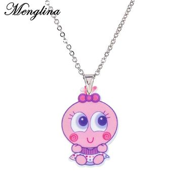 Menglina Fashion Cute Baby Doll Pendant Necklace For Little Girls Silver Tone Chain Choker Lovely Planar Resin Pendentif Femme