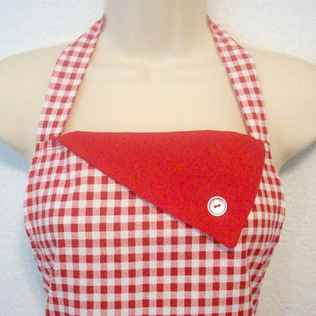 Retro Style Womens Full Apron / Red Gingham with Red by Eclectasie