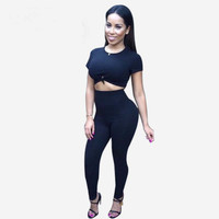 Black Short Sleeve Cropped Top and Pants
