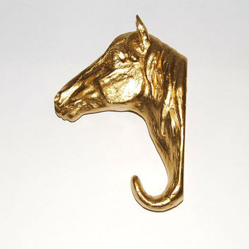 White Faux Taxidermy - Gold Resin Horse Head Wall Hanging Hook - Chic and Trendy Home Decor