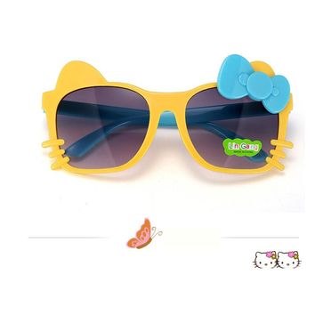 Kids Sunglasses Fashion Bow Cartoon Cat Shades Children Eyeglasses Plastic Frame Glasses Gafas Oculos De Sol crianca For Girls