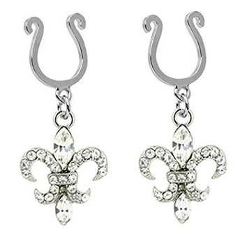 Pair of Fake Clear Cz Fleur De Lis New Orleans Saints dangle Nipple Jewelry Adjustable Non piercing Clip on shield ring rings
