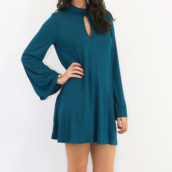 Somebody To Love Teal Trapeze Dress