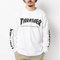 Thrasher New Fashion Letter Print Women Men Leisure Long Sleeve Top Sweater White