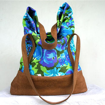 SPRING////Luella in Vintage Neon Floral Linen with Camel Leather Accents