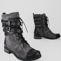 strappy lace-up side zip boot