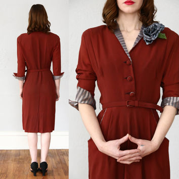 ON SALE 1940s Merlot Red Dress
