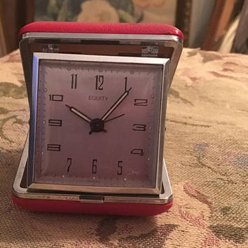Equity Travel Clock, Travel Alarm Clock, Red clock, personal alarm, folding alarm clock, mid century clock, collectible clock, home decor
