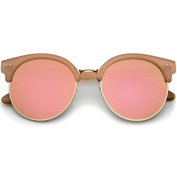 Womens Oversize Half Frame Color Mirror Flat Lens Round Sunglasses 55mm