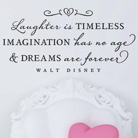 "Walt Disney - Wall Vinyl Quote - ""Laughter is timeless..."""