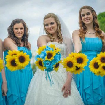 17 piece Sunflower Bouquet Malibu Blue Sunflower Wedding Bouquet Set