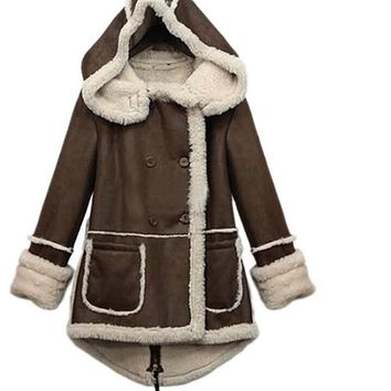 MYPF Women Winter Warm Thicken Fleece Lapel Parka Wool Coat Hooded Outwear Jacket