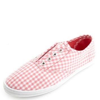 Gingham Check Laceless Canvas Sneakers