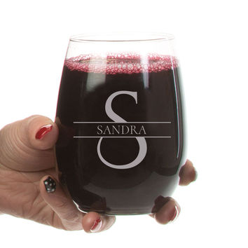 Personalized Stemless Wine Glasses , Etched Monogram Wine Glasses, Wedding, Anniversary Gift For Women, Custom Made Wine Glass