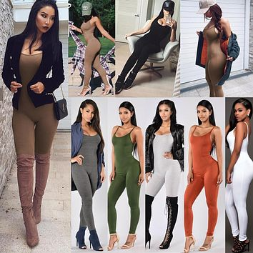 Candy Color Solid Basic Jumpsuits Women Skinny Bodycon Rompers Strapless Sexy Bodysuits
