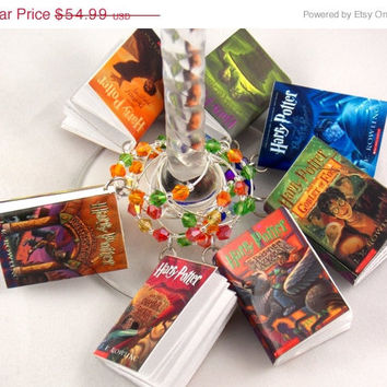 FREE SHIPPING!!! Harry Potter books inspired geeky wine glass charms set of 7 video game charms handmade wine charms