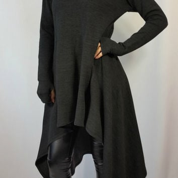 Hooded Oversize Sweater with Asymmetrical Hem