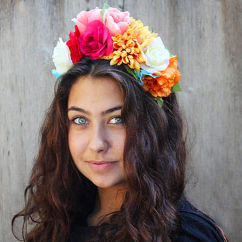 Frida Kahlo Floral Crown - Day of the Dead, Dia de los Muertos, Frida Headband, Frida Flowers, Costume, Frida Kahlo Flowers, Frida Crown