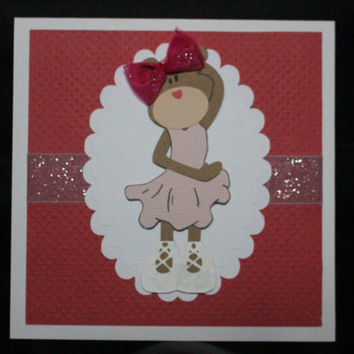 Handmade 3D Teddy Bear Card - Ballerina - Red Pink Fushia - Birthday Postcard Beautiful - Girl Happy Birthday Card  - Cards for Girls Kids