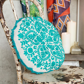 Turquoise Embroidered Round Pillow