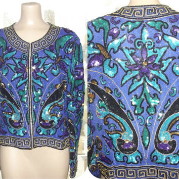 Vintage 80s Royal Purple Turquoise Gold Sequin & Beaded Cropped Jacket Greek Key Formal Trophy Blazer XL