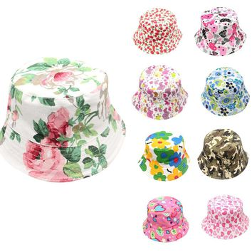 2018 New Fashion Toddler Kids Baby Boys Girls Floral Pattern Bucket Hats Sun Helmet Cap Summer accessory soft Comfortable #30