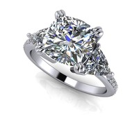 Three Stone Engagement Ring Colorless Moissanite - Celestial Premier Moissanite