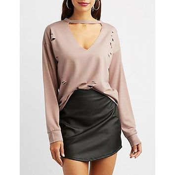 Destroyed Cut-Out V-Neck Top | Charlotte Russe