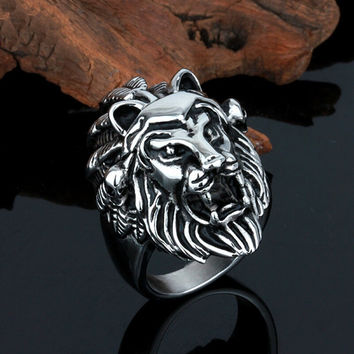 Fashion Mens Ring, Size 8-12 On Sale Gothic Black Silver Lion King Party Ring Rock Biker Stainless Steel Jewelry Gift