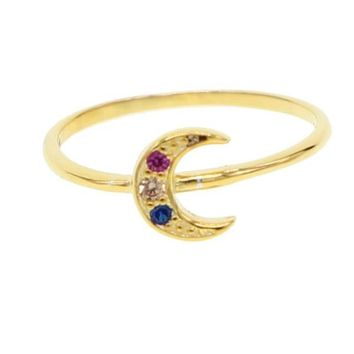 Moon Crest Ring Colored Stones