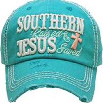 SOUTHERN RAISED JESUS SAVED DISTRESSED AND FADED Womens HAT /Cap Turquoise