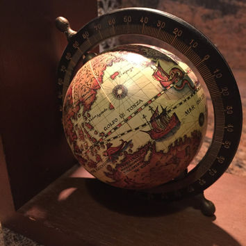 Vintage Olde World Globe Bookend Wooden