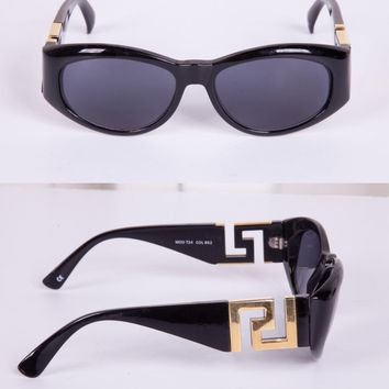 GIANNI VERSACE Womens Black VINTAGE MOD T24 COL 852 Classic Oval Sunglasses