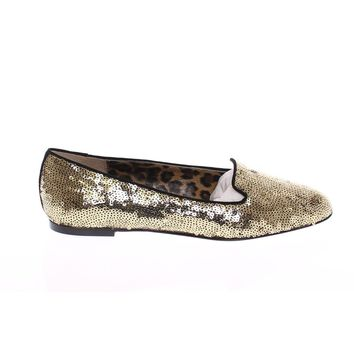 Dolce & Gabbana Gold Sequined Ballerinas Ballet Flats Shoes