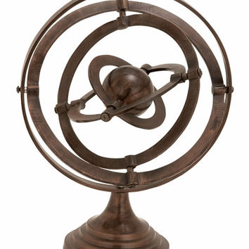 Benzara Armillary Sculptured Over A Four Stepped Round Base