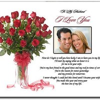 I Love You Gift for Husband - Romantic Anniversary or Valentine's Day Gift From Wife - Photo added