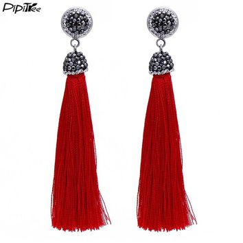 Pipitree 12 Colors Long Tassel Earrings Bohemia Boho Style Black Rhinestone Drop Earrings for Women Wedding Vintage Jewelry