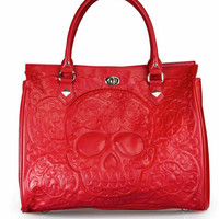 """""""Red on Red Skull Lattice"""" Tote Handbag by Loungefly (Red)"""