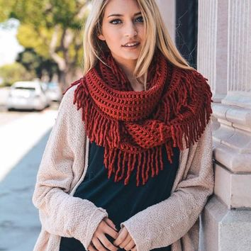 Evie Knit Tassel Fringe Accent Infinity Scarf