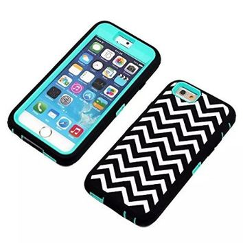 Iphone 6 Case, Rosepark(TM)iPhone 6 Case, Wave Pattern Heavy Duty Rugged Dual Layer Hybrid Armor Defender Case Cover for iPhone 6 4.7 inch with A Stylus(Green)