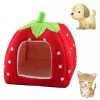 KingMas Cute Soft Sponge Strawberry Pet Cat Dog House Bed Warm Cushion Basket Size:M