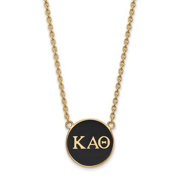 14K Plated Silver Kappa Alpha Theta Large Enamel Necklace