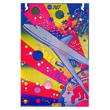 Pan Am Airplane Peter Max Art poster Metal Sign Wall Art 8in x 12in