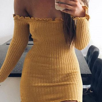 Yellow Off-The-Shoulder Frill Hem Bodycon Mini Dress