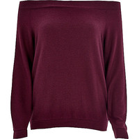 River Island Womens Dark purple long sleeve bardot top