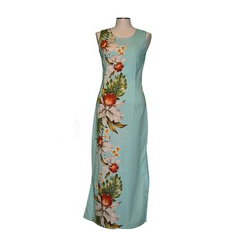 Ky's 100% Cotton Green Long Tank Womens Aloha Dress with Red and White Hibiscius