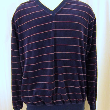 Vintage Amazing 70s VELOUR STRIPED V-Neck Soft Poly-Cotton Unisex Medium Large Stylish Pull-Over Sweater Shirt