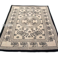 Twin Cotton Multi Elephant Tapestry Wall Hanging Bedspread Hippie Bohemian Throw Ethnic Home Decor