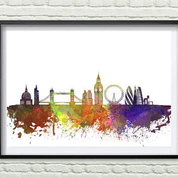London, England Skyline Print, Watercolor Art, London Art, City Poster, City Skyline, Wall Art Cityscape, Home Decor *10*