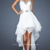 Elegant A-line Sweetheart White Chiffon Prom Dress with High-low Style YFAM042,High-Low Prom Dresses